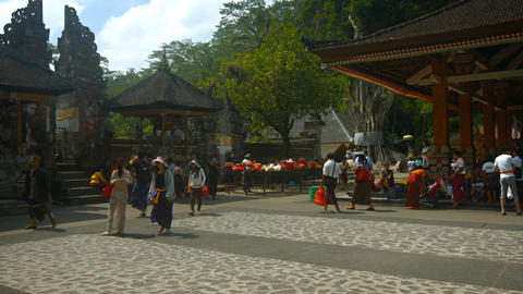 Tirta Empul temple. The territory near the main entrance Footage