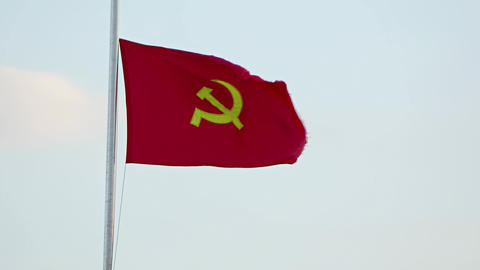 Communist Party Flag Flapping in the Wind in Vietnam Footage