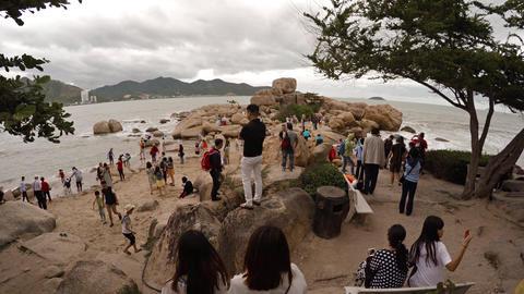 Tourists exploring the Hon Chong Rocks near Nha Trang Footage