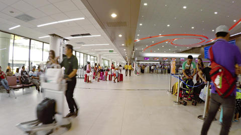 Strolling through departures area of Don Muang Airport's main terminal Footage
