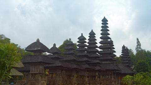 Tiered. Thatched Roofs of the Pura Taman Ayun Hindu Temple Complex Footage