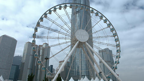 One International Finance Centre towers over Hong Kong Observation Wheel Footage