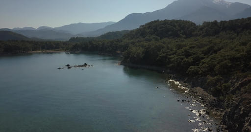 Aerial footage of a gorgeous coastline with forests and mountains, Turkey, 4k Live Action