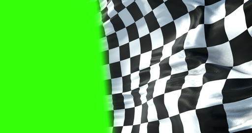 checkered flag, end race background, formula one competition waving with chroma key green screen and Live Action