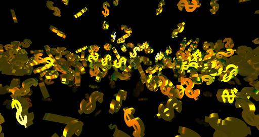 Golden 3d dollar symbols falling on the black background. Finance event Animation