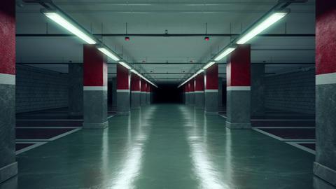 Walking through an empty underground parking garage Live Action
