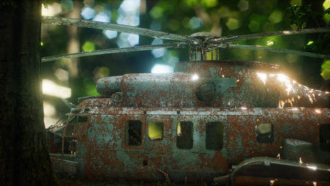 old rusted military helicopter Live Action