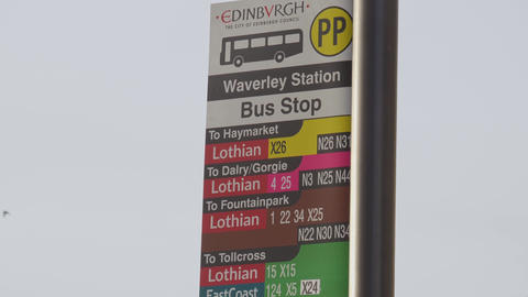 Bus stop in Edinburgh - EDINBURGH, SCOTLAND - JANUARY 10, 2020 Live Action