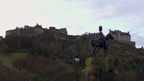 Edinburgh Castle on Castlehill in Scotland - EDINBURGH, SCOTLAND - JANUARY 10 Live Action