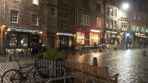 Famous Grassmarket in Edinburgh at night - EDINBURGH, SCOTLAND - JANUARY 10 Live Action