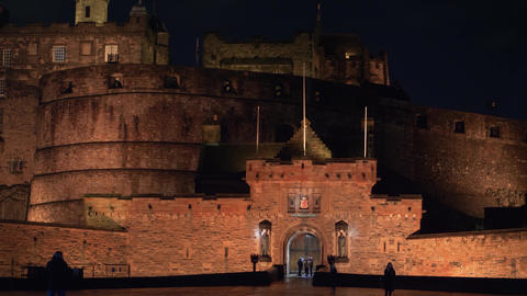 Edinburgh Castle illuminated at night Live Action