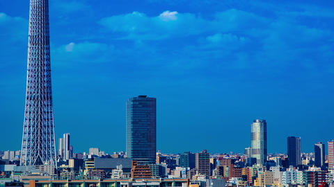 A timelapse near Tokyo sky tree at the urban city in Tokyo long shot zoom Live Action