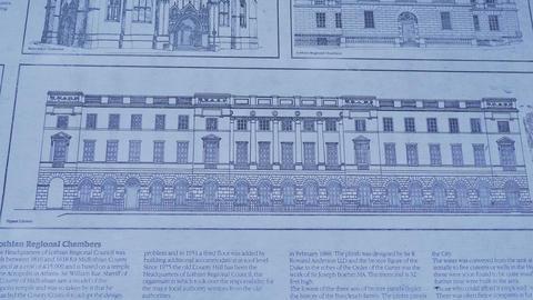 Information tables in the historic district of Edinburgh - EDINBURGH, SCOTLAND - Live Action