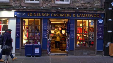Edinburgh Cashmere and Lambswool store in Edinburgh - EDINBURGH, SCOTLAND - Live Action