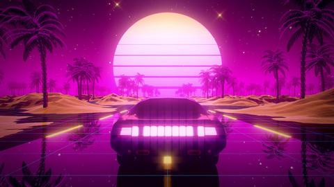3D Retro Synthwave Car Landscape VJ Loop Motion Background Animation