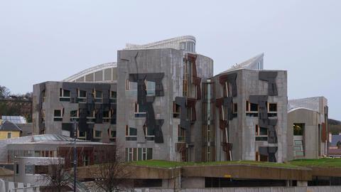 Scottish Parliament Building in Edinburgh - EDINBURGH, SCOTLAND - JANUARY 10 Live Action