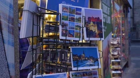 Postcards and Calendars from Edinburgh - EDINBURGH, SCOTLAND - JANUARY 10, 2020 Live Action