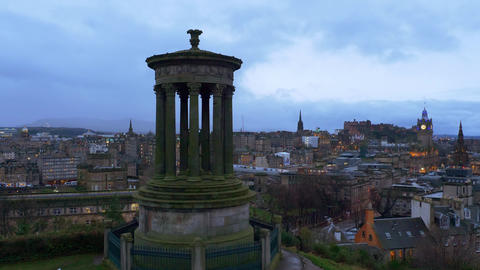 Panoramic view over Edinburgh in the evening Live Action