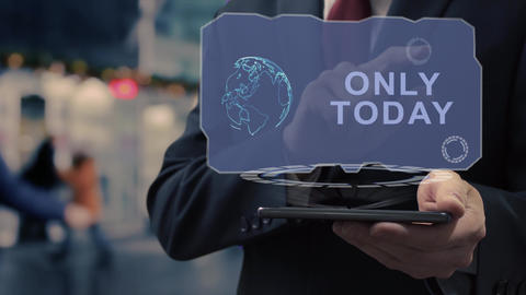 Businessman uses hologram Only today Live Action