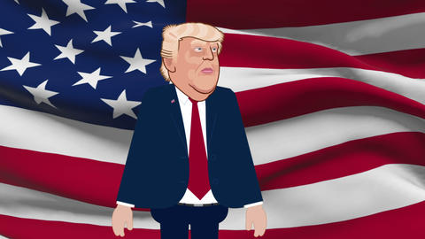 Donald Trump Animation on Flag Background Live Action