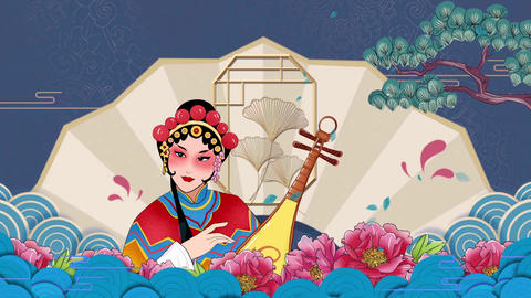 drama Guochao opera Huadan stage background video Animation