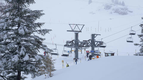 Drag lifts in the ski area in the Swiss Alps - ENGELBERG, SWISS ALPS - FEBRUARY Live Action