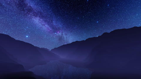 Starry night sky with milky way over calm mountain lake CG動画