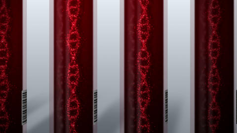 Molecule of DNA system with red blood in test tube. Blood test equipment. Loop animation. Medical Animation