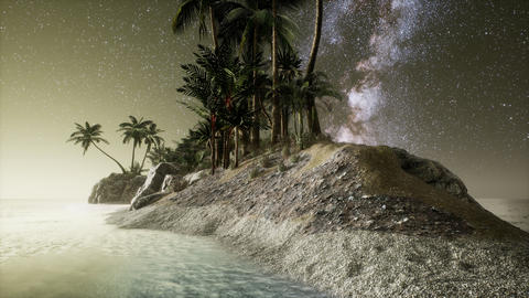 Beautiful fantasy tropical beach with Milky Way star in night skies Live Action