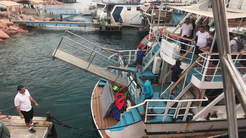 Eilat, Israel - October 24, 2019: tourists on a pleasure boat part 4 Live Action