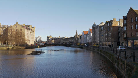 Beautiful district of Leith in Edinburgh Live Action