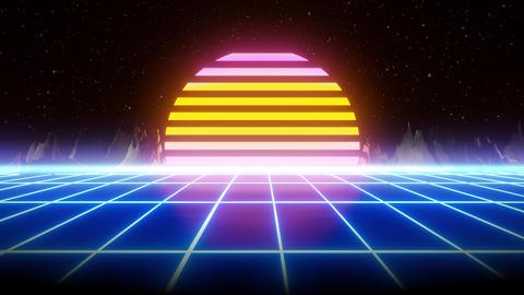 80s retro synthwave grid 3d render animation CG動画
