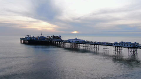Brighton Pier in the evening - beautiful aerial view Live Action