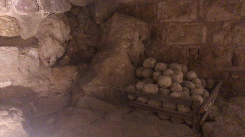 Ajloun, Jordan - stone rooms with illumination in the old castle part 9 Live Action