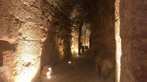 Ajloun, Jordan - stone rooms with illumination in the old castle part 2 Live Action