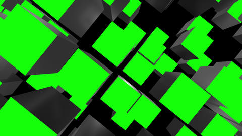 Cube Asseble Green Screen Transitions Animation