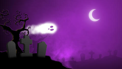 Animated Halloween Cemetery Backdrop Animation