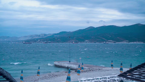 Storm in the Black Sea. View of an empty beach on the seashore in a storm Live Action