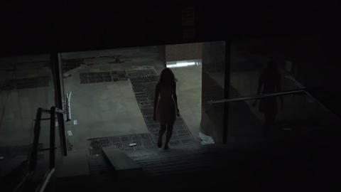A lonely girl leaves the underpass at night. Dangerous and dirty night quarter Live Action