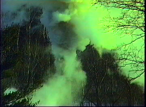 Green smoke billows up from a smokestack, polluting a forest of trees Footage