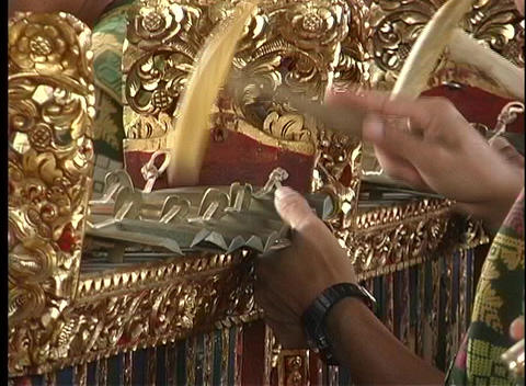 Skilled hands play an exotic musical Balinese instrument Footage