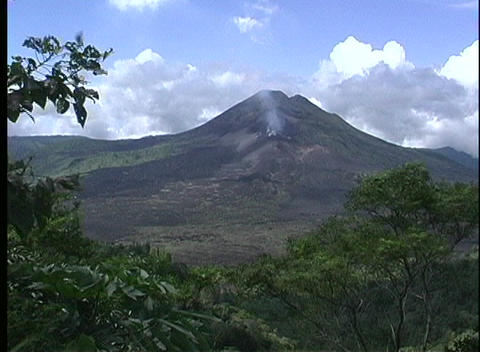 A medium shot of Gunung Agung Volcano in Bali with a... Stock Video Footage