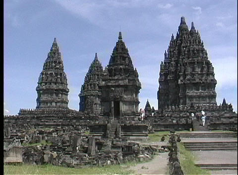 A medium shot of ancient Hindu temple ruins in Borobodur, Java Footage