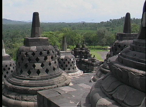 A birds-eye view of ancient Hindu temples and Buddhist... Stock Video Footage