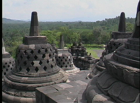 A birds-eye view of ancient Hindu temples and Buddhist stupas Footage