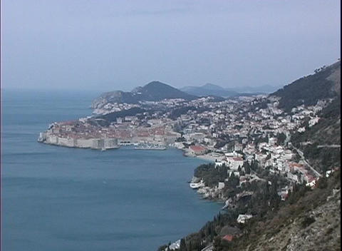 An aerial view of Dubrovnik, Croatia the city along the... Stock Video Footage