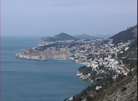 An aerial view of Dubrovnik, Croatia the city along the water Footage