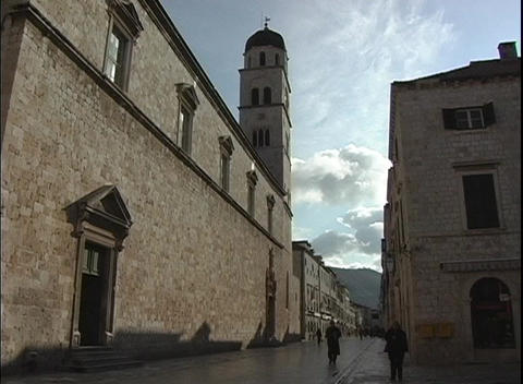 A church in Dubrovnik, Croatia viewed during golden hour Stock Video Footage