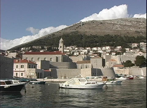 Medium shot of a dock in Dubrovnik, Croatia Stock Video Footage