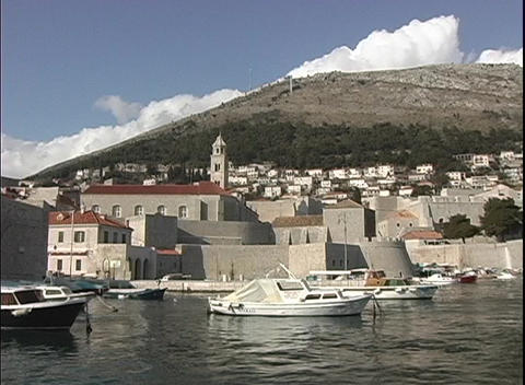 Medium shot of a dock in Dubrovnik, Croatia Stock Video Footage